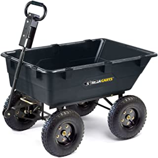Gorilla Carts GOR865D11-1 Heavy-Duty Garden Poly Dump Cart with 2-In-1 Convertible Handle, 1,200-Pound Capacity, Black Finish (Older Model)