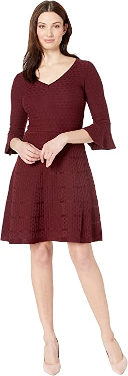 Bell Sleeve Fit & Flare Sweater Dress