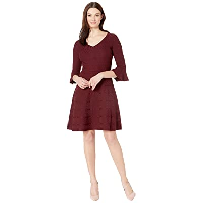 Gabby Skye Bell Sleeve Fit Flare Sweater Dress (Raisin) Women