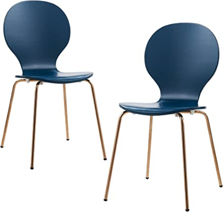 Versanora- Contorno Bentwood Set of 2 Chairs (Blue/Rose Gold)