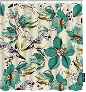 Moslion Floral Bathroom Curtains Vintage Cute Birds and Flowers Leaves Shower Curtains Home Waterproof Extra Long Polyester Fabric Shower Curtain with Hooks 72x72 Inch Beige Turquoise
