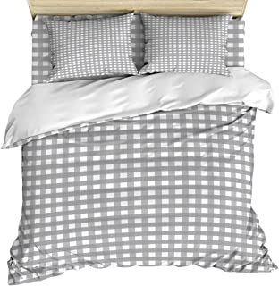 OUR DREAMS Cozy Bedding Sets California King, Grey and White Plaid Pattern, 4 Piece Quilt Cover Set with Bed Sheet and 2 Pillow Case for Kids/Teens/Adults