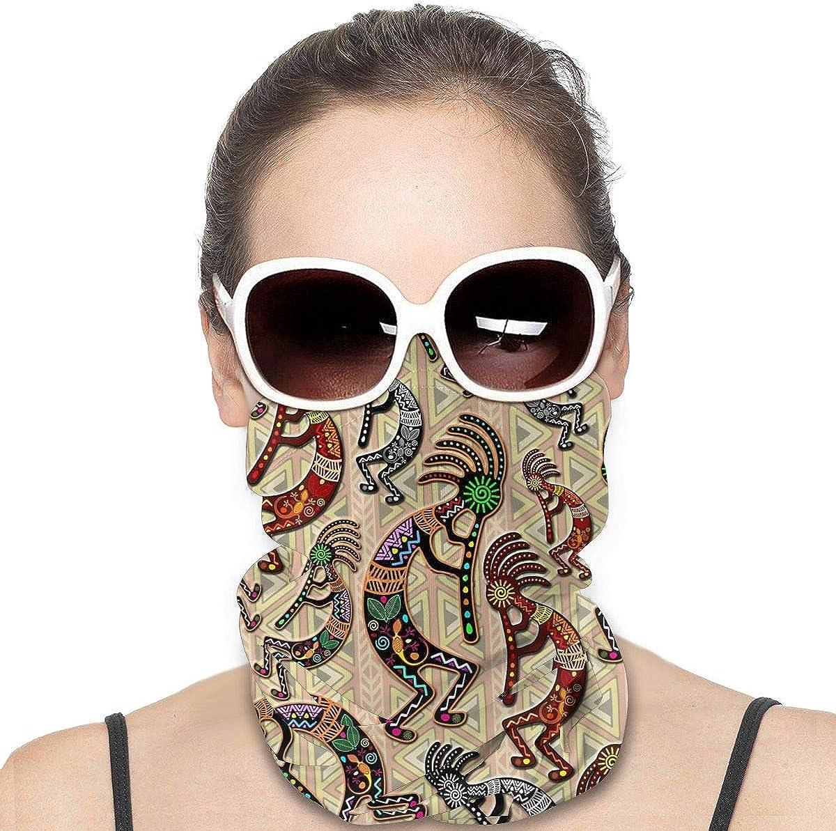 JinSPef Bandana Face Mask - Kokopelli Tribal Rainbow Pattern Motorcycle Mask Bandana Face Mask Multifunctional Headwear Head Bands Neck Warmer Men Headband Sun Mask
