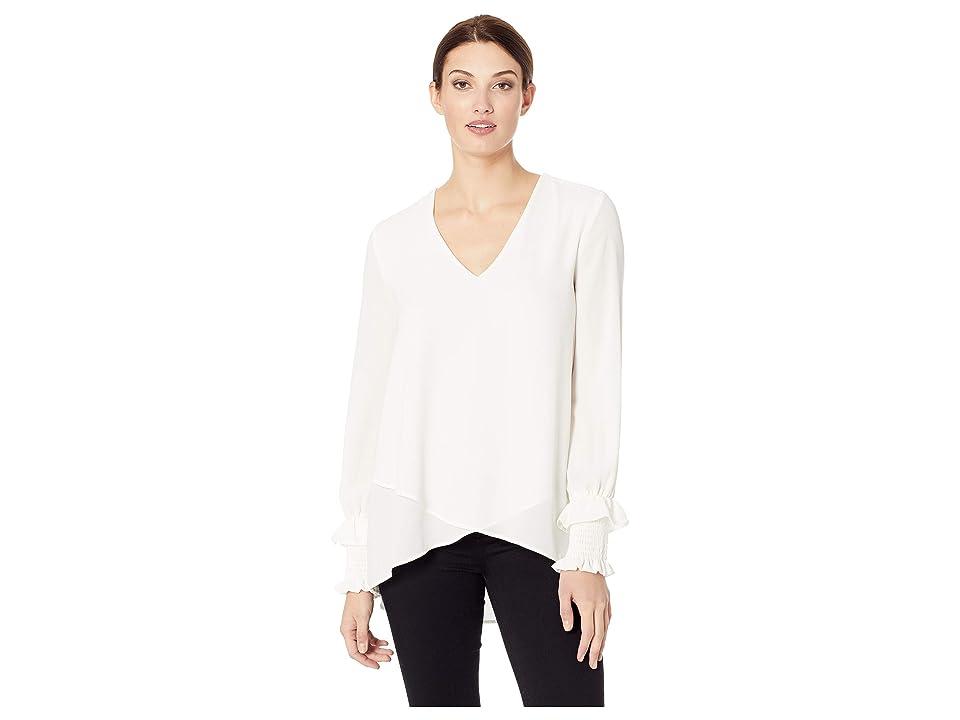 Karen Kane Smocked Sleeve Crossover (Cream) Women