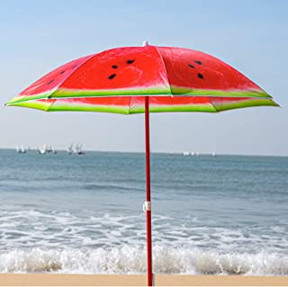 AMMSUN 1.8m Portable Beach Umbrella UV Protection Sun Shade Shelter Watermelon Fruit Design with Tilt Fabric Carry Bag Red...