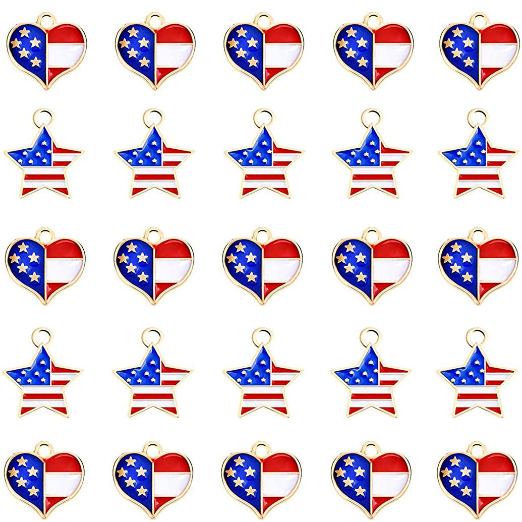 Mayam 50 Pieces American Flag Charms Pendant Patriotic Enamel Charms for 4th Independence Day Ornament of July DIY Decoration Jewelry Making (Style 1 and 2)
