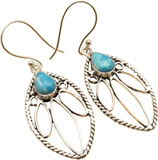 LARIMAR Tribal Ancient Style Earrings, 925 Sterling Silver Plated Online Jewelry Store Made In India
