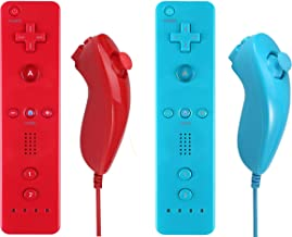 Yosikr Remote Controller and Nunchuck Controller Compatible for Nintendo wii/wii u Console - with Silicone Case and Wrist Strap (2 Packs Red and Blue)