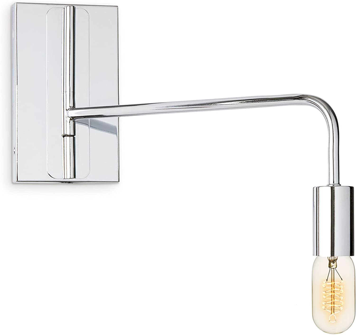 Chrome Wall Sconce Lamp Light - Adjustable Swing Arm, Plugin and Hardwire Inssizetion Options, Edison Bulb Included, Brooklyn Bulb Co. Hoyt Collection - ETL Listed