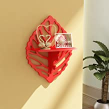Home Sparkle Carved Shelf Engineered Wood (Red)