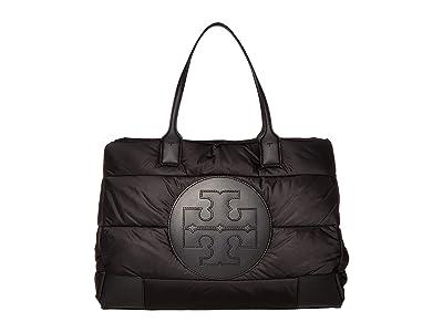 Tory Burch Ella Puffer Tote (Black) Handbags
