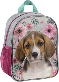 Mochila infantil 28 x 22 x 10 cm, diseño de perro con flores, color gris y rosa