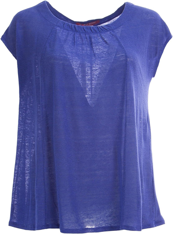 Marina Rinaldi Women's Vasello Short Sleeve Flax Top bluee