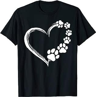 Cute Dog Puppy Shirt Dogs Paw Print Heart Gift Dog Mom T-Shirt