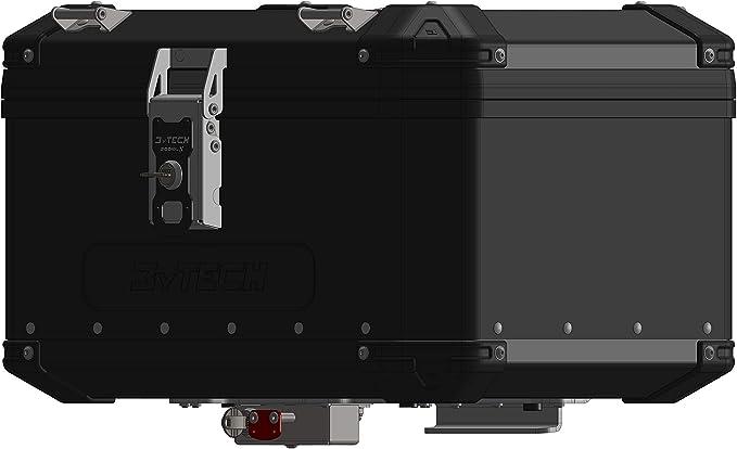 Mytech Topcase Aus Aluminium Model X Pulverbeschichtet Und Eloxiert Universal Schnellverschluss Auf Befestigungsplatte Modell X Schwarz 58 Liter Auto