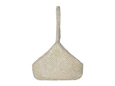 Jessica McClintock Staci Rhinestone Mesh Pouch Wristlet (Pearl) Wristlet Handbags