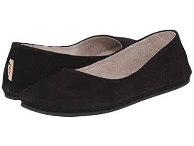French Sole Sloop Flat (Black Suede) Women