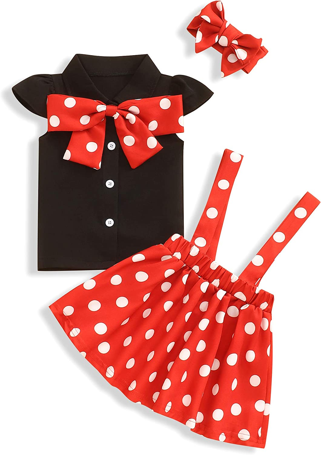Toddler Baby Girl Outfit Polka Dot Shirt Top Suspender Skirt with Headband Clothing Sets