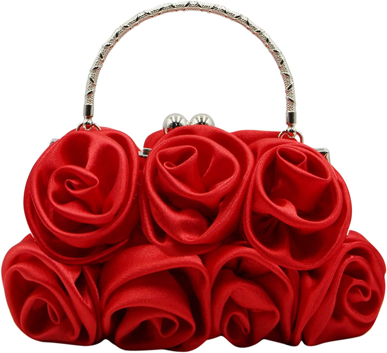 RARITYUS Women Evening Bag Silk-Like Satin Rose Shaped Clutch Handbag with Elegant Metal Handle for Party WeddingPurse