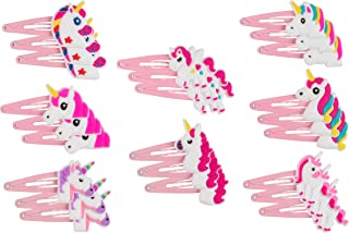 Rainbow Unicorn Hair Clips - 24-Pack Anti-Slip Snap Hairclips for Girls, Assorted Pink Unicorn-Themed Barrette Hair Pins, Ideal for Birthday Party Supplies Favors, Game Prizes