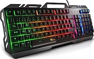 Gaming Tastatur, WisFox Bunte Rainbow LED Hintergrundbeleuchtete Gamer Keyboard, Ultra Sünn leise Ganzmetall USB Computert...