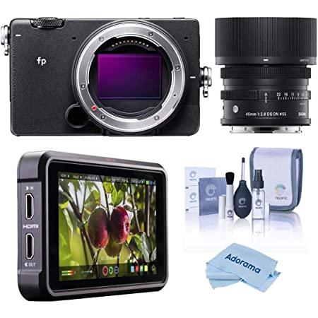 """Sigma fp Mirrorless Digital Camera with 45mm f/2.8 DG DN Contemporary Lens - Bundle with Atomos Ninja V 5"""" Touchscreen Recording Monitor, Cleaning Kit, Microfiber Cloth"""