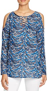 Womens Celine Printed Criss-Cross Front Pullover Top Blue S