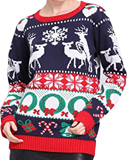 Walant Womens Christmas Pullover Sweater Reindeer Snowman Tree Snowflakes