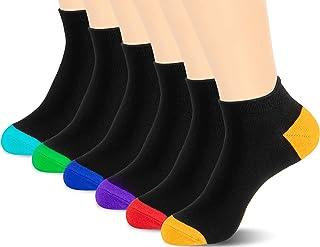 Newdora, 6 Pares de Calcetines Cortos para Hombre, Calcetines Deporte de Algodón, Calcetines tobilleros Transpirable invisible, Colores Divertidos y Negro