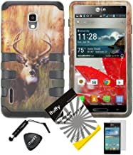 4 items Combo: ITUFFY (TM) LCD Screen Protector Film + Mini Stylus Pen + Case Opener + Outdoor Wild Deer Grass Camouflage Design Rubberized Hard Plastic + Soft Rubber TPU Skin Dual Layer Tough Hybrid Case for Boost Mobile / US Cellular LG Optimus F7 US780 LG870