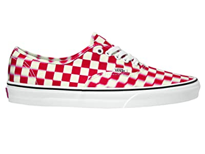 Vans Authentictm ((Blur Check) True White/Red) Skate Shoes