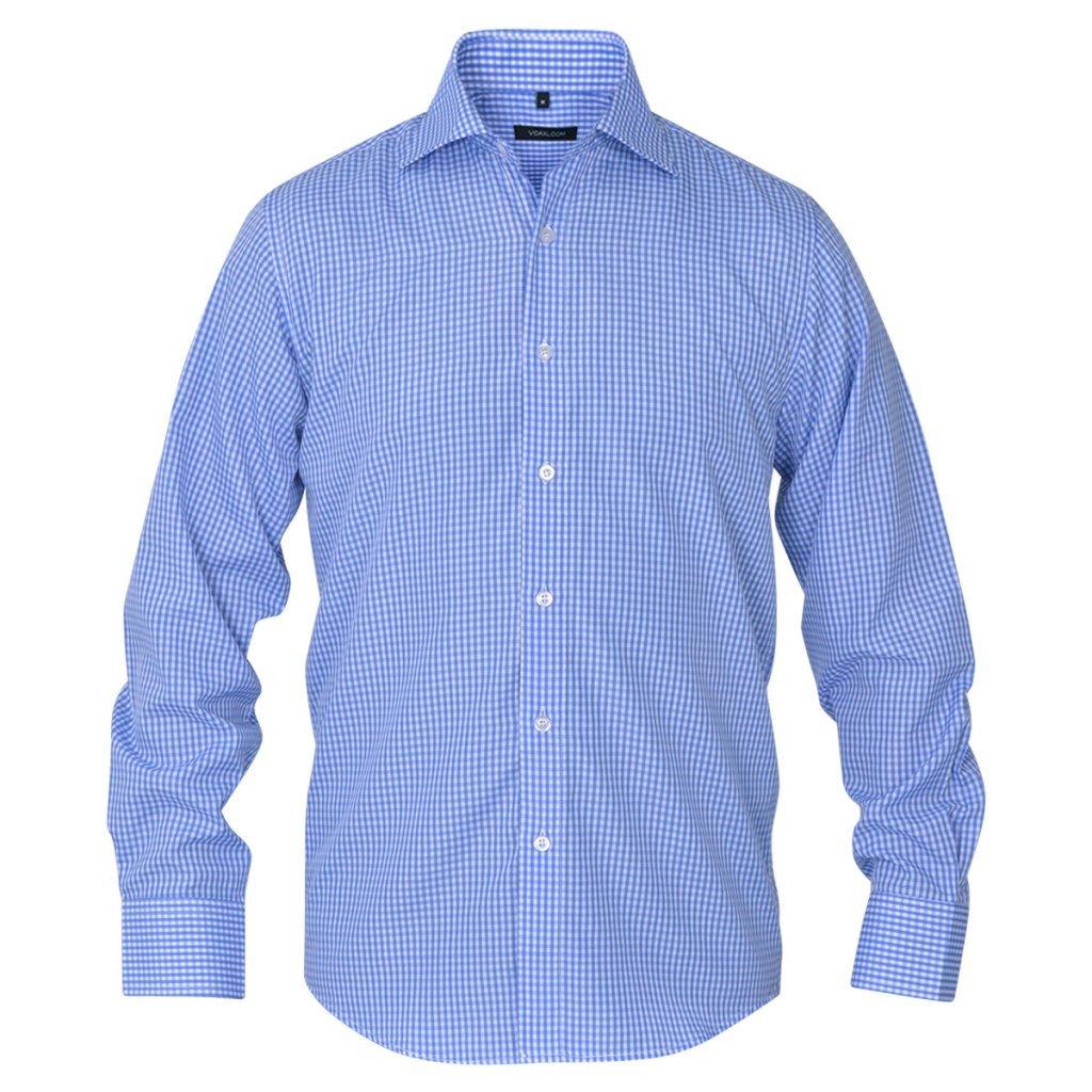 Fijo Night Hombre Business de camisa de Señor Camisa Slim Fit Camisas Hombres Camisa de manga larga Blanco y Azul Claro Cuadros tamaño s, talla M: Amazon.es: Hogar