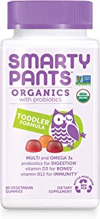 Daily Organic Gummy Toddler Multivitamin: Probiotic, Vitamin C, D3 & Zinc for Immunity, Omega 3, Selenium, Biotin, B6, Methyl B12 for Energy by SmartyPants (60 Ct, 30 Day Supply)Packaging May Vary