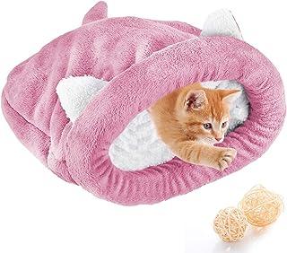 NCONCO Saco de dormir para gatos y gatos de interior, cálido y acogedor, con cubierta para acurrucarse