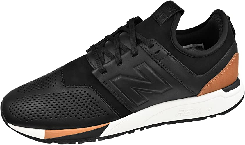 New Balance 247 Luxe Black Leather Trainers: Amazon.co.uk: Shoes ...