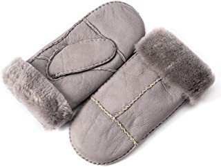 Womens Winter Sheepskin Shearling Leather Mittens Wool Lined Herringbone