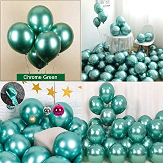 Chrome Metallic Balloons for Party 50 pcs 12 inch Thick Latex balloons for Birthday Wedding Engagement Anniversary Christmas Festival Picnic or any Friends & Family Party Decorations-Metallic Green