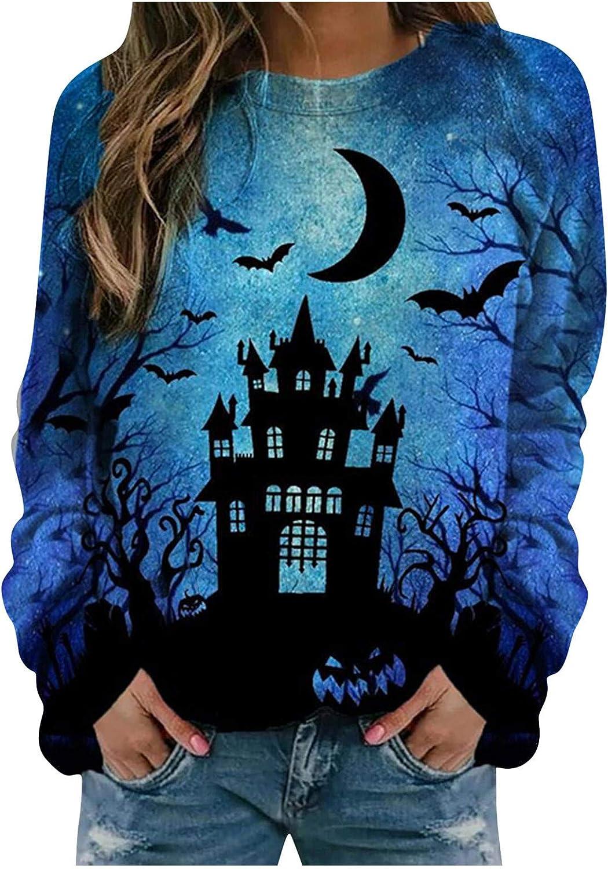 Halloween Sweatshirts For Women, Women'S Long Sleeve Vintage Printed Novelty Sweatshirts Casual Trendy Pullover Tops