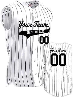 Create a Custom Baseball Jersey Pinstripe 6 Button Sleeveless Men's Personalized