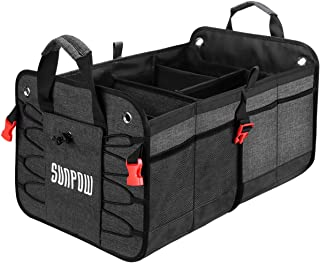 AUTOWN Car Trunk Organizer for SUV Truck, Auto Durable Collapsible Portable Multi Compartments Cargo Storage with Straps, Non-Slip Bottom Strips to Prevent Sliding (Black)