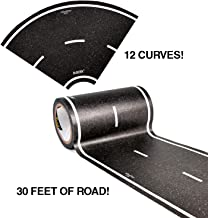 PlayTape 30 Feet by 4 Inches Black Road Starter Pack - Includes 12 Pack of 4 Inch Street Curves - Tape Toy Car Track for Kids - Sticker Roll for Cars and Train Sets