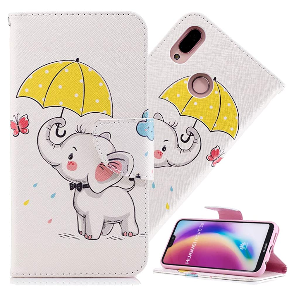HMTECH Huawei P20 Lite Case Design Printing Flamingo Retro Panda Floral Wallet Folio Flip PU Leather with Stand Card Holder Slots Protective Cover for Huawei P20 Lite Umbrella Dumbo BF