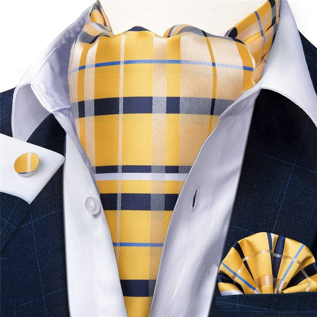 JJZXC Men Vintage Yellow Check Striped Wedding Formal Cravat British Silk Tie Pocket Square Cufflinks Set (Color : Yellow, Size : One Size)