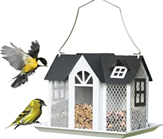 Kingsyard Bird Feeder House for Outside Metal Mesh Wild Bird Feeder with Triple Feeders for Finch, Cardinal NOT Squirrel Proof
