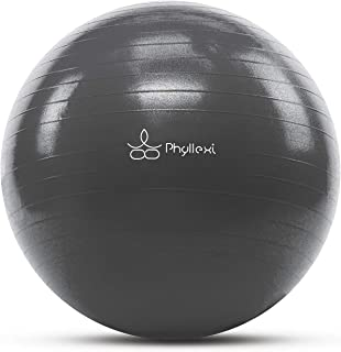 PHYLLEXI Exercise Ball - Anti-Burst Yoga Pilates Birthing Balls with Pump (55-85cm) for Fitness,  Stability,  Balance,  Workout Guide Included,  Supports 2200lbs