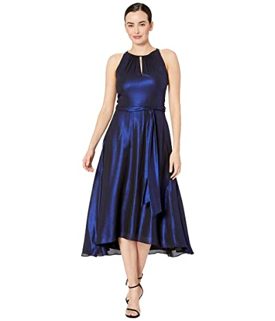 Tahari by ASL Iridescent Chiffon Sleeveless Midi High-Low Hem Halter Dress (Royal Shimmer) Women