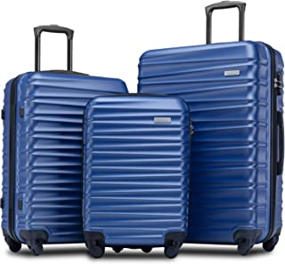"Merax Afuture Luggage Set Hardside Lightweight Spinner Suitcase 20"" 24"" 28"" (Blue2019)"