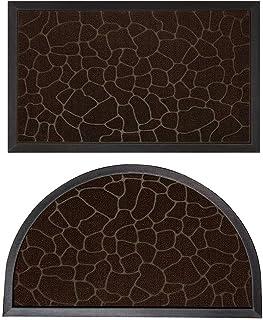 Gorilla Grip Natural Rubber Doormats, 72x24 Runner and 35x23 Half Circle Heavy Duty Indoor Outdoor Low-Profile Mats in Dar...