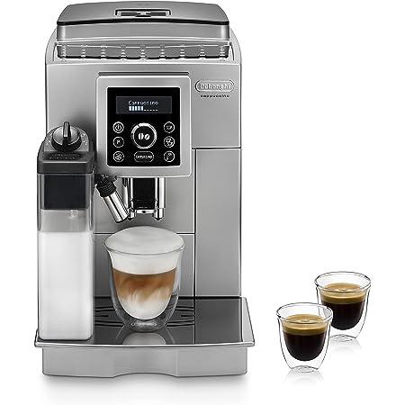 DeLonghi ECAM Cafetera automática compacta con suporte para tazas y con portafiltro, 1450 W, 1.8 L, plástico, plateado