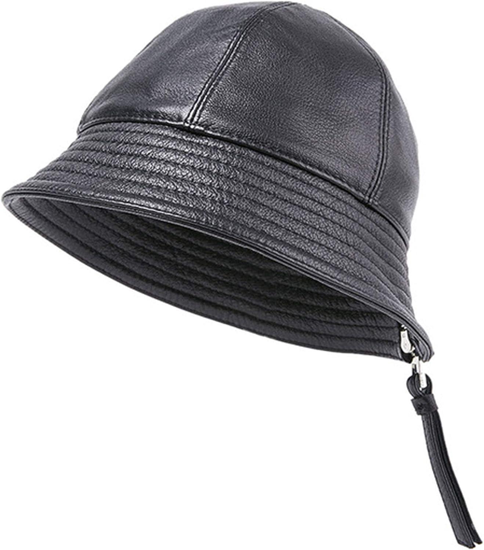LXFMZ Unisex Winter Leather Fishing Hats, Beret Cap Beach Fisherman Hats Sun Hats Caps, Outdoors Packable Bucket Hat (2 Pieces),Black,XL (58~59cm)